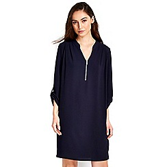 Wallis - Navy zip neck dress