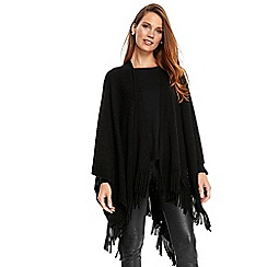 Wallis - Black tassle trim ribbed wrap