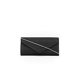 Wallis - Black shimmer envelope clutch
