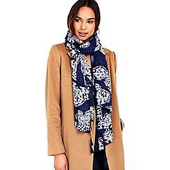 Wallis - Navy tassel butterfly scarf
