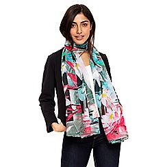 Wallis - Green tropical floral scarf
