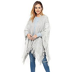Wallis - Grey stripe tassel trim rib wrap