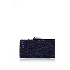 Wallis - Navy lace clutch bag