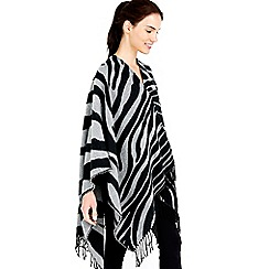 Wallis - Grey zebra printed tassel wrap