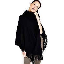 Wallis - Black asymmetric tassle poncho