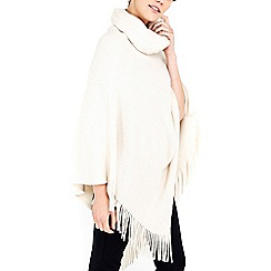 Wallis - Cream asymmetric tassle poncho