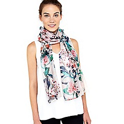 Wallis - Nude butterfly floral scarf