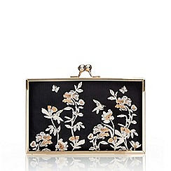 Wallis - Black floral embroidered box clutch