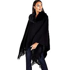 Wallis - Black faux fur collar rib wrap