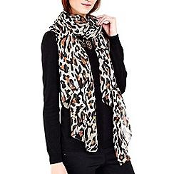 Wallis - Stone animal print chiffon scarf