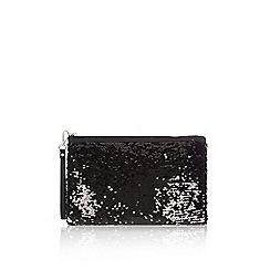 Wallis - Black sequin embellished clutch bag