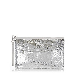 Wallis - Silver sequin embellished clutch