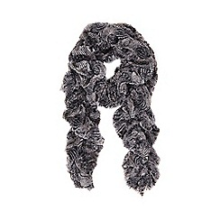 Wallis - Grey feather twirly faux fur scarf