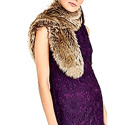 Wallis - Stone luxe faux fur stole scarf