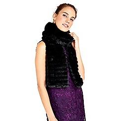 Wallis - Black stripe faux fur scarf