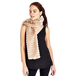 Wallis - Taupe stripe faux fur scarf