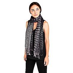 Wallis - Grey snake metallic jacquard scarf