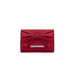Wallis - Berry satin bow clutch bag