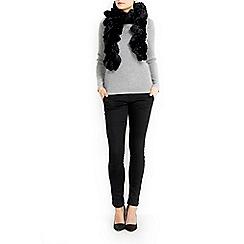 Wallis - Black twirly faux fur scarf