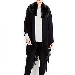 Wallis - Black faux fur collar mini rib wrap