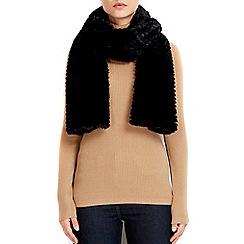 Wallis - Black faux fur teddy scarf