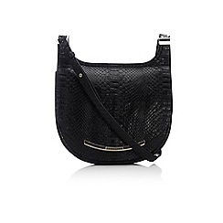 Wallis - Black large croc saddle bag