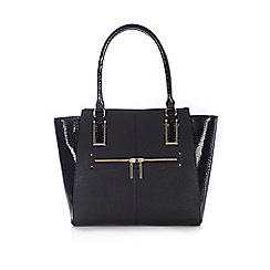 Wallis - Black snake winged tote bag