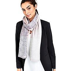 Wallis - Grey shimmer border paisley print scarf