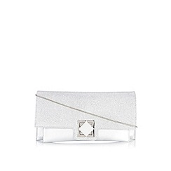 Wallis - Silver turnlock clutch bag