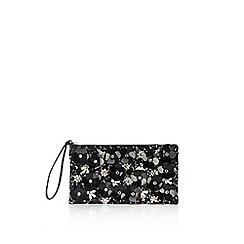 Wallis - Black 3d floral clutch bag