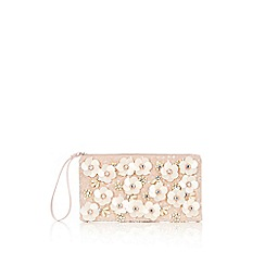 Wallis - White 3d floral clutch bag