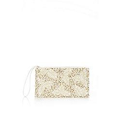 Wallis - White 3d pearl clutch bag