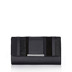 Wallis - Black linear stripe clutch bag