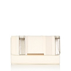 Wallis - Champagne linear stripe clutch