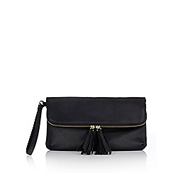 Wallis - Black tassel zip clutch bag