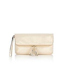 Wallis - Champagne tassel zip clutch