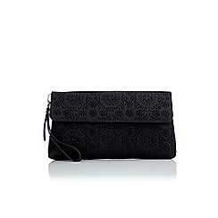Wallis - Black laser cut out clutch