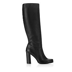 Wallis - Black leather high leg boot