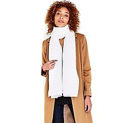 Wallis - Ivory pleated glitter scarf