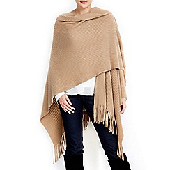 Wallis - Camel soft rib knit wrap