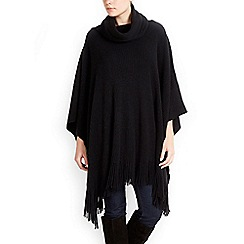 Wallis - Black soft rib poncho
