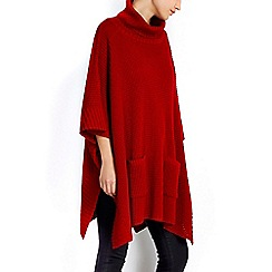 Wallis - Red stitch knit poncho