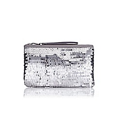Wallis - Silver square sequin clutch