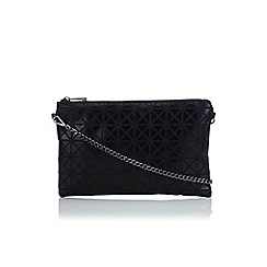 Wallis - Black art deco zip top clutch