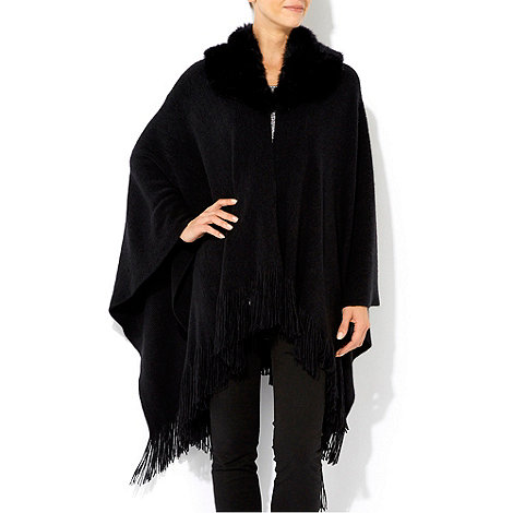 Wallis - Black faux fur collar wrap