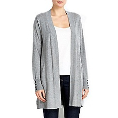 Wallis - Grey button longline cardigan