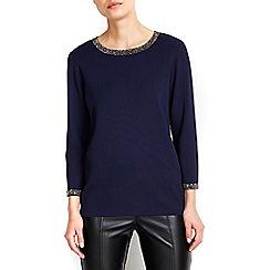 Wallis - Navy necklace jumper