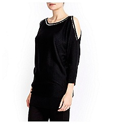 Wallis - Black gem cold shoulder tunic