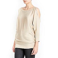 Wallis - Gold gem cold shoulder tunic