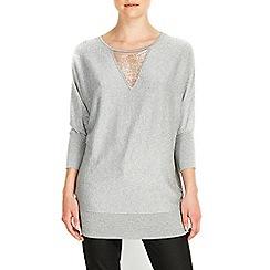 Wallis - Silver bead mesh tunic jumper